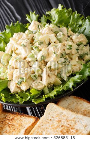 Delicious Chicken Salad With Celery, Eggs And Onions Served With Toast Close-up On A Plate. Vertical
