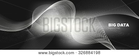 Technology Background. Gray Digital Particles. White Cyber Binary. Abstract Matrix. Monochrome Infor