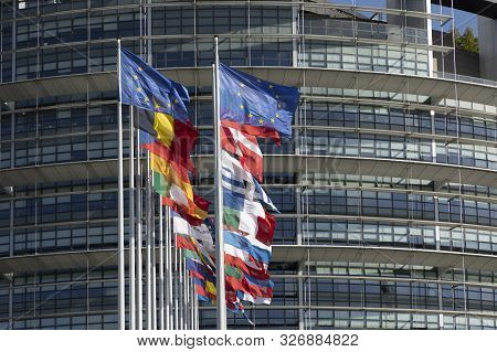 All Eu Flags European Union Flag Waving In Front Of European Parliament, Headquarter Of The European