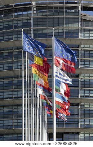 All Eu Flags European Union Flag Waving In Front Of European Parliament, Headquarter Of The European