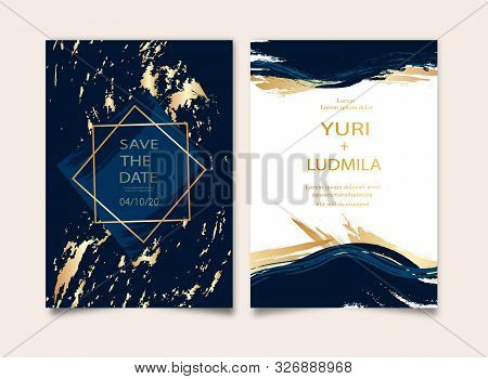 Wedding Invitation, Thank You Card, Rsvp, Posters Design Collection. Trendy Indigo Blue And White Ma