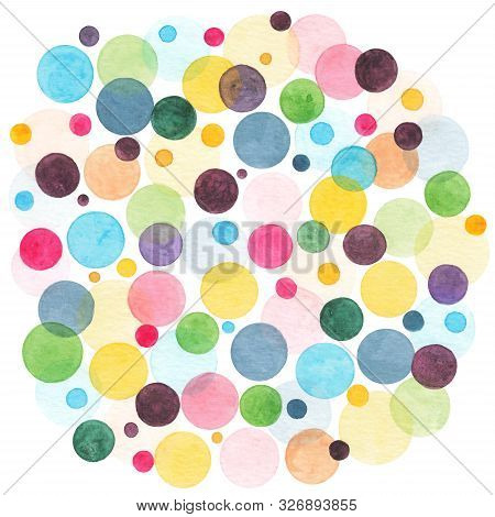 Watercolor Rainbow Colored Circles Scattered Around. Colorful Confetti Background. Abstract Watercol