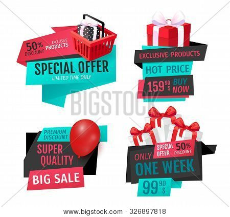 Mega Discount, Exclusive Product On Sale Banners Set Vector. Presents In Shopping Basket, Inflatable