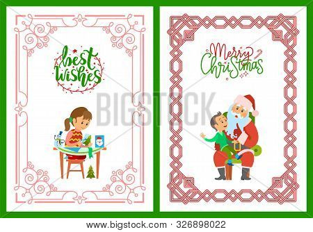 Girl Making Postcard With Best Wishes, Cutting New Year Tree From Paper. Merry Christmas Poster, San
