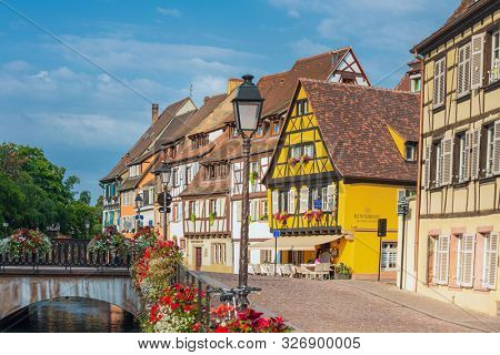 STRASBOURG, FRANCE - June 17, 2017 : Street view of Traditional houses in La Petite France, Strasbourg, Alsace, France