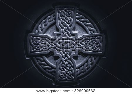 Wonderful Embossed Celtic Stone Cross, Full Of Details And Textures In Its Elaborate Carvings.