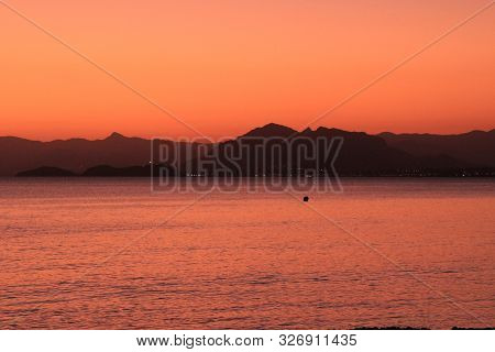 Beautiful Sunset on the beach in La Azohia village, Cartagena, Murcia,Spain. poster
