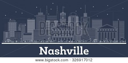 Outline Nashville Tennessee USA City Skyline with White Buildings. Business Travel and Concept with Historic Architecture. Nashville Cityscape with Landmarks.