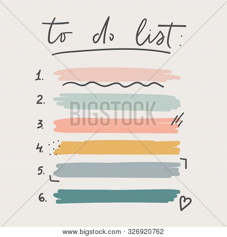 Multicolored To Do List Schedule Template Vector Illustration. Different Grunge Brush Strokes. Varie
