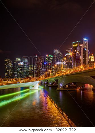 Singapore, Singapore - APRIL 19, 2019: View at Singapore City Skyline, which is the iconic landmarks of Singapore