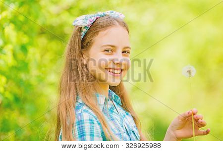 Summer Vacation. Rancho And Country. Happy Child Hold Blowball. Dandelion. Spring Holiday. Womens Da