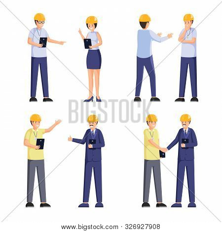 Construction Company Workers Flat Illustrations Set. Professional Builders, Safety Inspectors, Forem