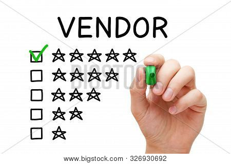 Satisfied Customer Putting Check Mark With Green Marker On Five Star Rating In Vendor Evaluation Fee