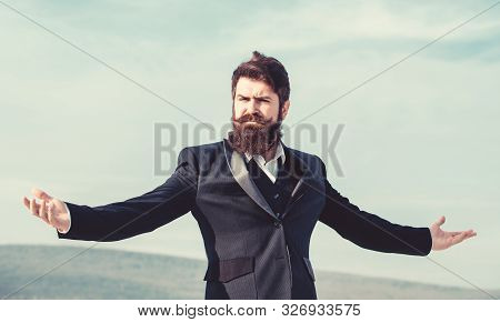 Feeling Undefeated. Self Proud And Narcissistic. Hipster Bearded Attractive Enjoy Freedom. Guy Enjoy