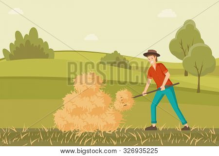 Farmer Working On Hayfield Flat Illustration. Young Rancher Collecting Haystack With Pitchfork Carto