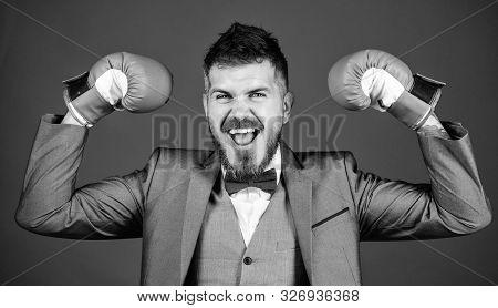 Successful Businessman. Criminal Defense Lawyer Planning Out Strategies. Businessman Wear Boxing Glo
