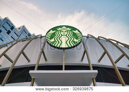 SHENZHEN, CHINA - CIRCA APRIL, 2019: Starbucks Coffee sign seen in Shenzhen. Starbucks Corporation is an American coffee company and coffeehouse chain.