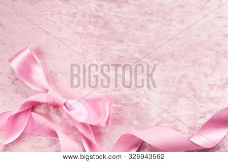 Silky Satin Plush Pink Backround With Atlas Pink Bow And Ribbon