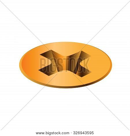 Isometric, Twisted In Surface Golden Self-tapping Screw, Head. Macro View Of Wide Gold A Hat Metalwa