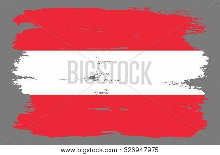 Red And White Austrian Flag With Stripes. Austrian Flag With Cool Grunge Texture. Vector Flag Of Aus