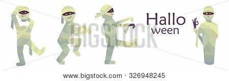 Vector Illustration. Collection Of Mummy Characters Isolated On White Background. Happy Halloween Wi