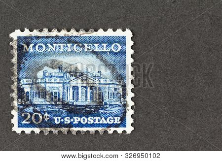 Seattle Washington - October 5, 2019: Blue 20  Cent Usa Postage Featuring The Former President Thoma