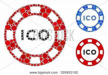 Ico Token Composition Of Circle Elements In Various Sizes And Shades, Based On Ico Token Icon. Vecto