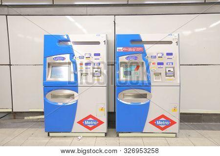 Madrid Spain - May 29, 2019: Metro Subway Ticket Machine In Madrid Spain