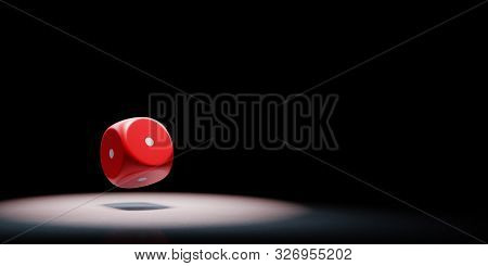 Red Dice With All One Numbered Faces Spotlighted On Black Background With Copy Space 3d Illustration