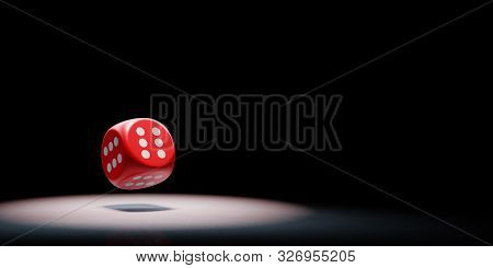 Red Dice With All Six Numbered Faces Spotlighted On Black Background With Copy Space 3d Illustration