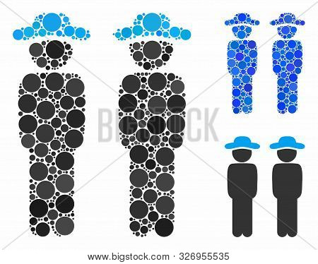 Gentlemen Mosaic Of Filled Circles In Various Sizes And Color Hues, Based On Gentlemen Icon. Vector