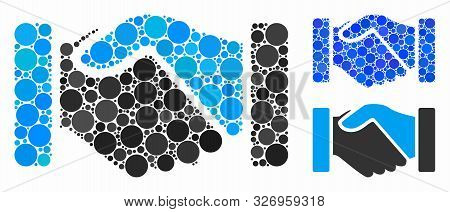 Acquisition Handshake Mosaic Of Filled Circles In Different Sizes And Color Hues, Based On Acquisiti