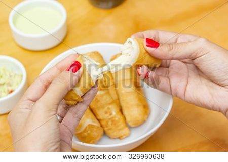 Venezuela tequeños food cheese stick, appetizer to share with friends