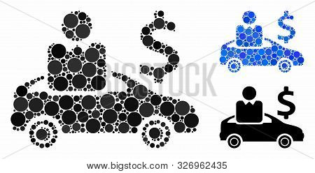 Car Buyer Mosaic Of Circle Elements In Various Sizes And Color Tones, Based On Car Buyer Icon. Vecto