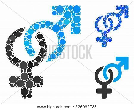 Heterosexual Symbol Mosaic Of Round Dots In Different Sizes And Color Tints, Based On Heterosexual S