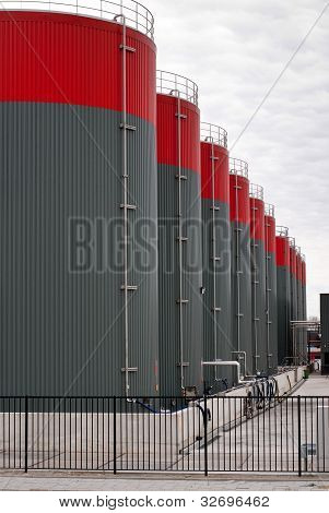 Grey Oil Storage Tanks