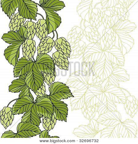 Hop Ornament On Green Grunge Background, Vector Illustration