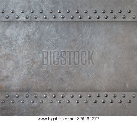 Metal armor with rivets 3d illustration background