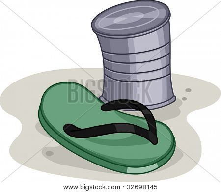 Illustration of a Slipper and a Can used in a game
