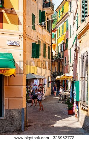 Monterosso Al Mare, Italy - September 02, 2019: People Are Walking, Traveling By A Cozy Vibrant Stre
