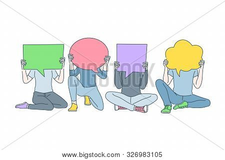 Public Opinion Diversity, Communication, Dialogue Concept. People With Colorful Empty Speech Bubbles