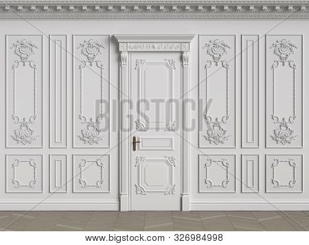 Classic interior walls with copy space.White walls with ornated mouldings and classic cornice.Classic door.Floor parquet.Digital Illustration.3d rendering poster