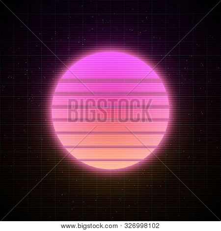 Retrowave Style Striped Sun With Pink And Soft Peachy Yellow Glowing In Starry Space With Laser Grid