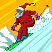 Skier day rides from the mountain Santa Claus character merry Christmas and happy new year. Pop art retro vector illustration vintage kitsch drawing 50s 60s poster