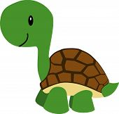 Vector illustration of a cute cartoon turtle poster