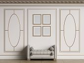 Classic interior walls with copy space.White walls with decorative ellipses in mouldings. Ornated cornice.Classic bench ottoman. Empty picture frames on the wall.Floor parquet.Digital Illustration.3d rendering poster