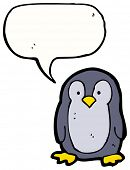 cartoon little penguin with speech bubble poster