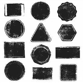 Grunge Stamps. Distressed Post Stamp Texture. Round, Rectangular, Triangular And Hexagonal Scratched