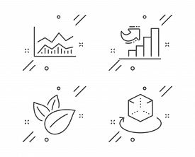 Organic Product, Growth Chart And Trade Infochart Line Icons Set. Augmented Reality Sign. Leaves, Di