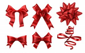 Realistic Red Bows. Decorative Xmas Gift Ribbon Bow, Christmas Or Romance Decoration Elements. Gift